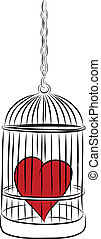 cage with red heart