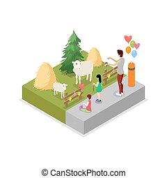 Cage with sheeps isometric 3D icon