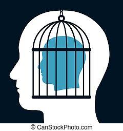 caged, huvud, själ, silhuett, insida
