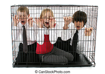 Caged Kids - Brothers and sister trapped in dog cage. Ages...