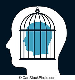 Caged mind inside a head silhouette - Conceptual...