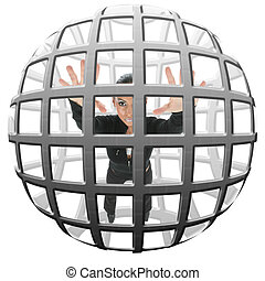 Woman trapped in spherical cage.