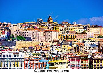 Cagliari, Italy - Cagliari, Sardinia, Italy old town skyline...