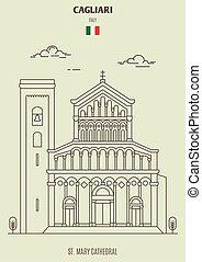 cagliari, mary, 大聖堂, italy., ランドマーク, アイコン, st. 。