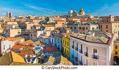 Cagliari - Sardinia, Italy: Cityscape of the old city center in the capital of Sardinia, wide angle panorama, view from the rooftop