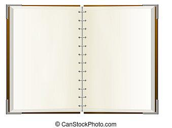 cahier, à, vide, pages