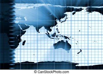 cahier, carte, mondiale