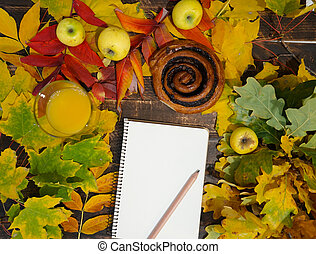 cahier, chocolat, feuilles, rouleau, guimauves, café, séché, automne, wiht, brioche
