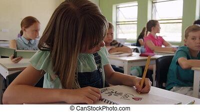 cahier, classe, girl, dessin, elle