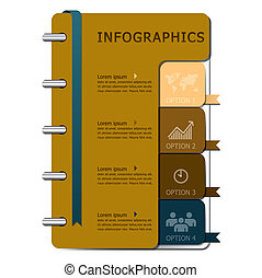 cahier, conception, gabarit, infographics