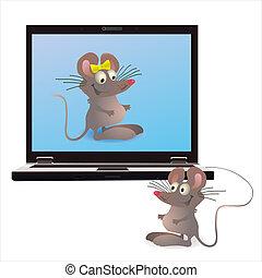cahier, deux, mouses, scre