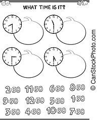 cahier d'exercice, figure, pédagogique, gosses, horloge