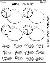 cahier d'exercice, pédagogique, figure, enfants, horloge