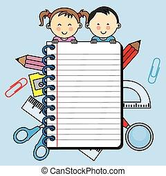 cahier, enfants, espace