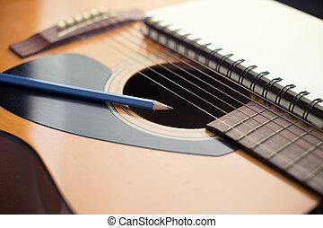 cahier, et, crayon, sur, guitare, écriture, musique