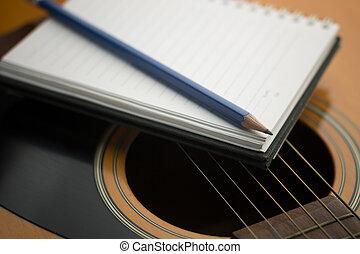 cahier, et, crayon, sur, guitare, musique