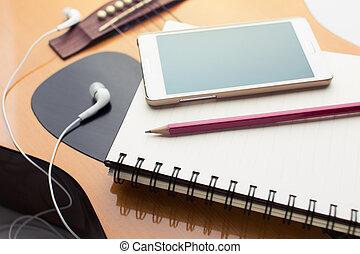 cahier, et, crayon, sur, guitare