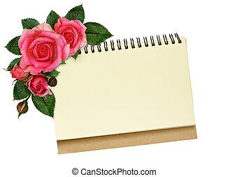 cahier, et, rose, fleurs