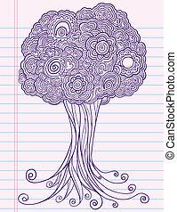 Griffonnage croquis cahier arbre henn croquis art - Croquis arbre ...