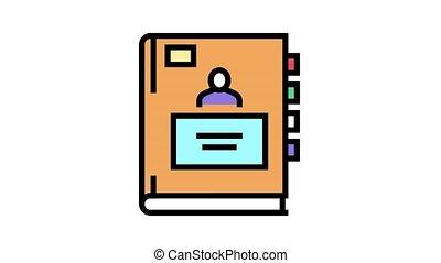 cahier, icône, pupille, animation, couleur