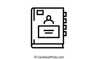 cahier, icône, pupille, animation, ligne