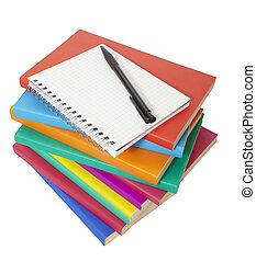 cahier, livres, education, coloré, pile