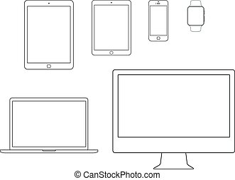cahier, mobile, ligne, tablette, informatique, ensemble, icône
