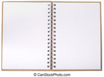 cahier, ouvert, pages, vide