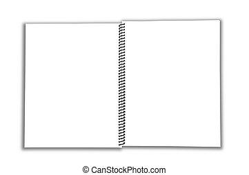 cahier, ouvert, spirale, vide