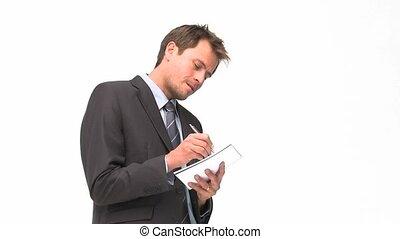 cahier, sien, écriture, sourire, homme affaires