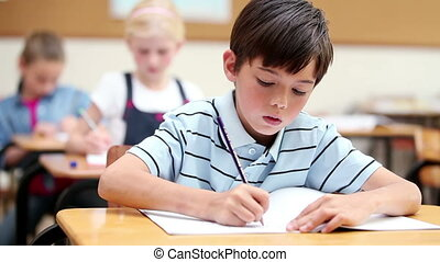 cahier, sien, pupille, écriture, sérieux