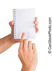 cahier, tenant mains