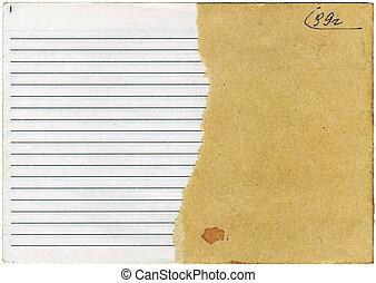 cahier, vieux, lambeaux