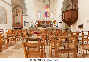 Church interior in Cahors cathedral in France