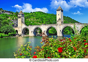 Cahors Valentre bridge, UNESCO site the Pilgrim's Road to Santiago