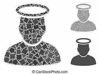 cahoteux, homme, icône, saint, mosaïque, morceaux
