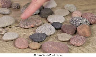 caillou, pierres, femme, tri, zen