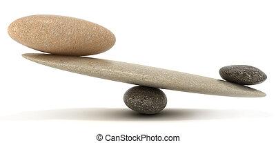 caillou, stabilité, balances, à, grand, et, petit, pierres