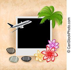 cailloux, avion, porte-photo, fleurs, mer, paume