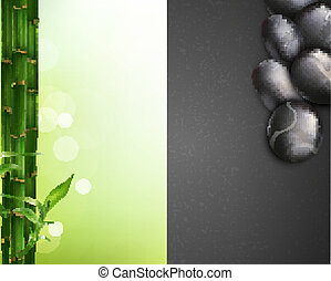 cailloux, bambou, vecteur, fond