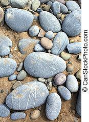 cailloux, bleu, plage, haut, (grand, fin, stones)