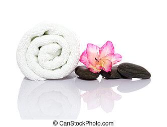 cailloux, serviette, masage, gladiola