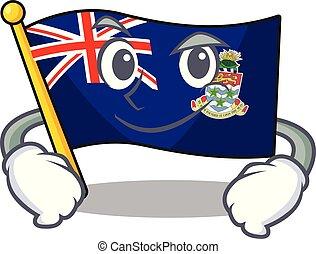 caimán, aislado, islas, bandera, caricatura, el smirking