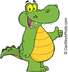 caimán, cocodrilo, sonriente, o