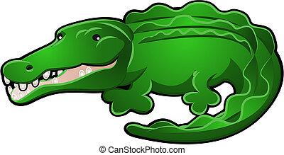 caimán, lindo, cocodrilo, caricatura, o