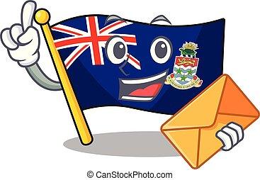 caimán, traer, aislado, islas, bandera, caricatura, sobre