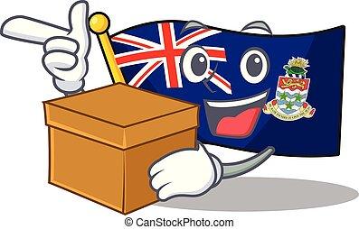 caimán, traer, aislado, islas, caja, bandera, caricatura