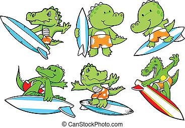 caimán, verano, surf, conjunto, vector