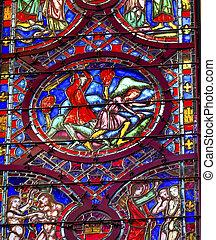 Cain Abel Adam Eve Stained Glass Sainte Chapelle Paris France