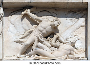 Cain killing Abel, marble relief on the facade of the Milan Cathedral, Duomo di Santa Maria Nascente, Milan, Lombardy, Italy